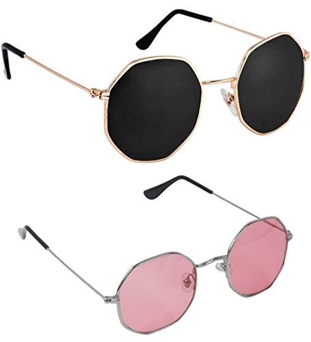 Dervin Octagonal Sunglasses/Frame For Men & Women (Black, Pink) - Combo of 2