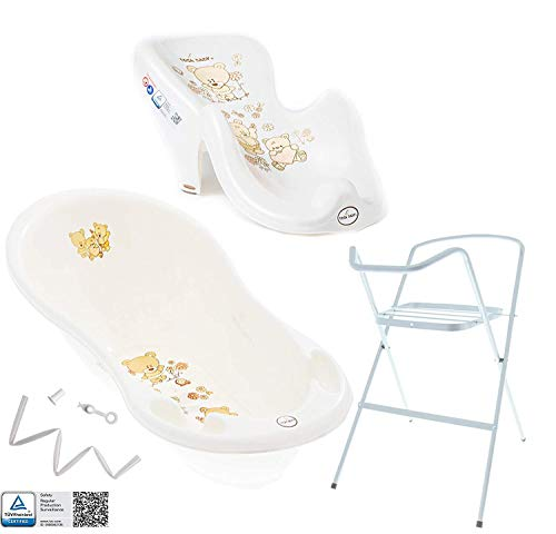 Tega Baby ® Baby Badewanne mit Gestell und Verschiedene Sets mit Babybadewannen + Ständer + Abfluss + Badewannensitz 0-12 Monate | ergonomisch Neugeborene, Motiv:Bärchen - weiß, Set:4 Set