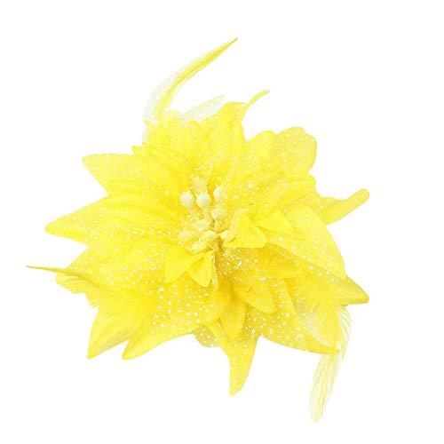 Plus Nao(プラスナオ) ヘアクリップ ヘアアクセサリー 子供用 キッズ お花 フラワーモチーフ 羽根 フェザー チュール 髪飾り 髪留め ヘアア - イエロー