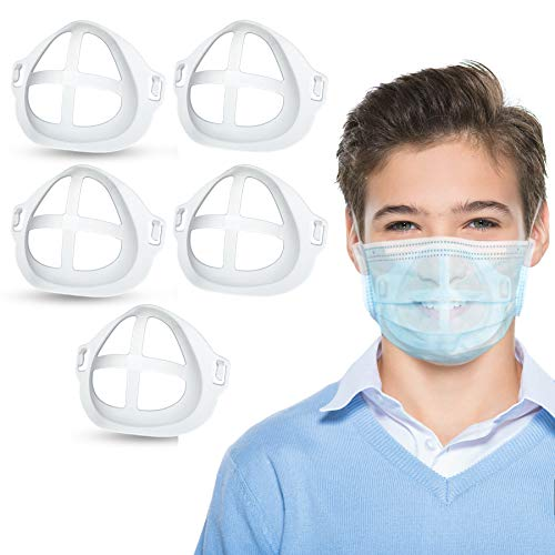 3D Bracket for Comfortable Mask Wearing, Silicone Cool Face Guard Accessories, Inner Support Holder Frame, Protect Lipstick Lips, Nasal Pad Breathing Smoothly, Reusable Washable Translucent, 5 Packs