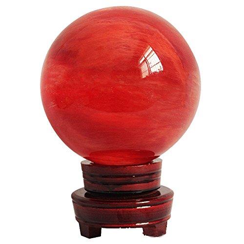 MIKINI Statue de guérison en forme de boule de cristal rouge sculpté (80 mm) | Traité thermiquement | Support en bois