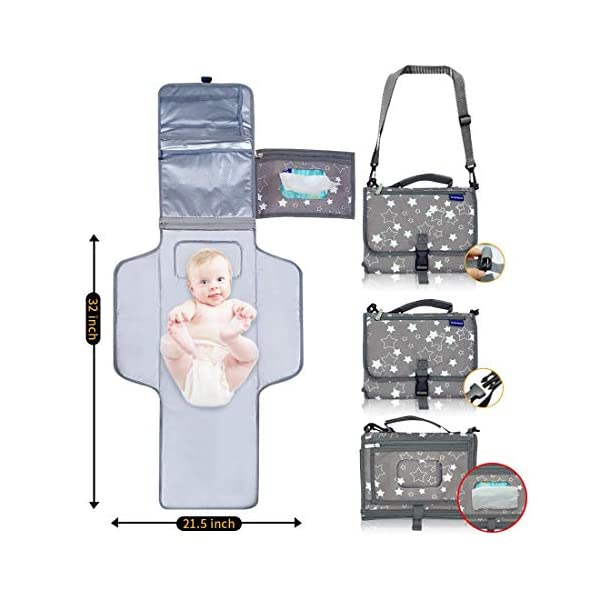 Portable Changing Pad, Portable Diaper Changing Pad, Waterproof Portable Changing...