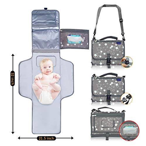 Portable Changing Pad, Portable Diaper Changing Pad, Waterproof Portable Changing Pad,Travel Changing Pad with Smart Wipes Pocket,Perfect Baby Changing Mat for Newborn Boys and Girls.
