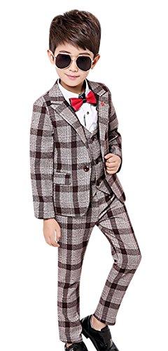 Kid Formal Suit Set Single Breasted Modern Fit Boys Check Suit 3 Pcs Formal Blazer Pants Vest Brown