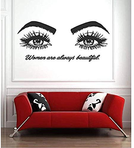 Stickers Muraux Beauty Decal Eye Eyelashes Lashes Extensions Eyebrows Brows Salon Make Up Paper 68X30cm