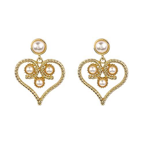 QIN Pendientes de Goteo geométricos del corazón Dorado de la Vendimia para los brincos exagerados Pendientes de Perlas de Barolk 2021 Joyas de Fiesta