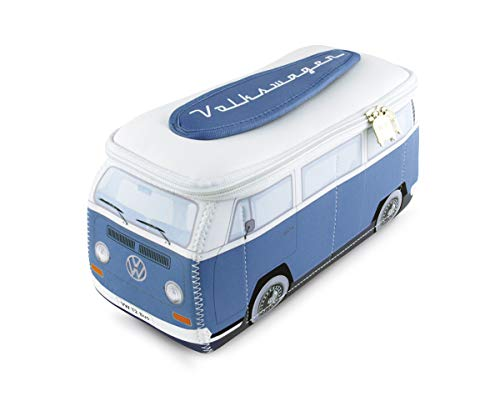 BRISA VW Collection - Volkswagen Combi Bus T2 Camper Van 3D Trousse de Maquillage en Néoprène, Sac à cosmétiques, Nécessaire de Toilette/Culture, Étui de Voyage, Universel, Lunch-Box (Blanc/Bleu)