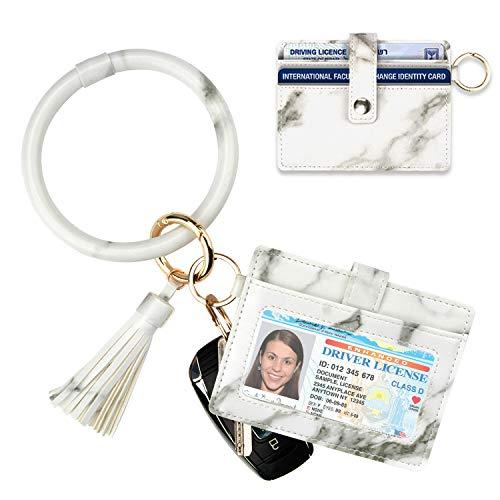 Schlüsselanhänger Armband mit Kartenhalter für Damen   3 Kartenfächer   PU-Leder Armband Schlüsselanhänger Armreif - Grau - Card Holder