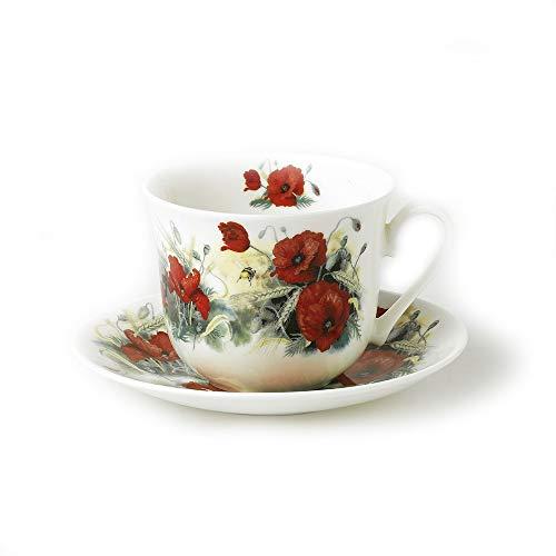 Roy Kirkham Jumbo Breakfast Tasse und Untertasse in Poppy Design–01243