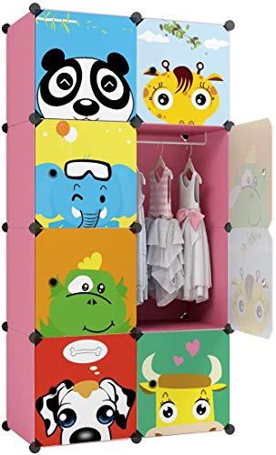 KOUSI Kid Clothes Storage Organizer Baby Dresser Kid Closet Baby Clothes Storage Cabinet for Kids Room Baby Wardrobe Toddler Closet Childrens Dresser (Pink, 28'(W) x 14'(D) x 56'(H))