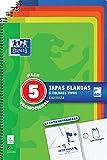 Cuadernos Folio(A4) Oxford. Pack 5 unidades Promoción. Tapa Blanda. 80 Hojas Cuadrícula 4x4. Surtido Colores Vivos.