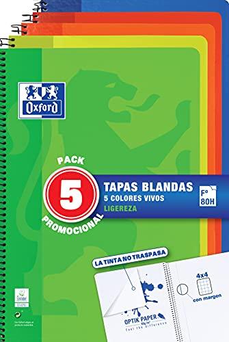 Oxford, Cuadernos A4 (Folio). Pack 5 Libretas Promoción. Tapa Blanda. 80 Hojas Cuadrícula 4x4. Surtido Colores Vivos.