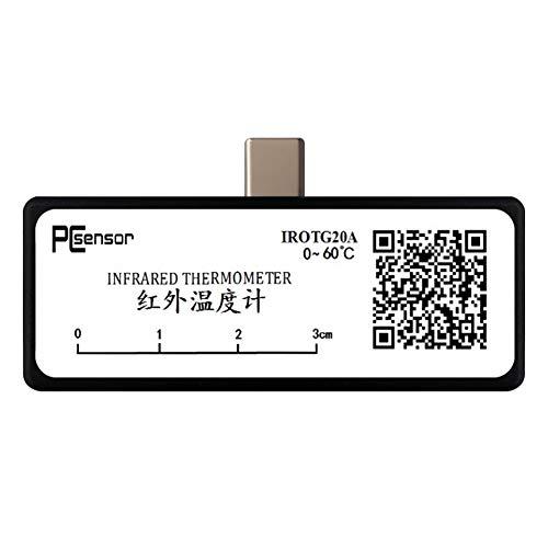 PCsensor Termómetro multifuncional para teléfono móvil sin contacto, termómetro digital para frente y superficie de objetos con alarma de alta temperatura