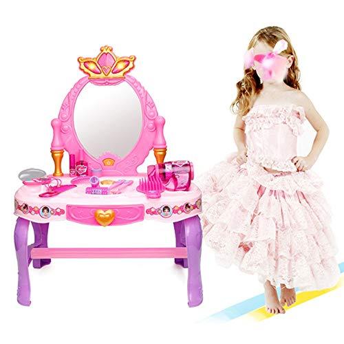 Canness Kinder-Schminktisch Spielzeug Spiel-Haus-Spielzeug-14-teiliger Satz Simulation Mädchen Play House Dressing Tabelle 3-6 Jahre alt Make Up Sets Rollenspiele Spielzeug