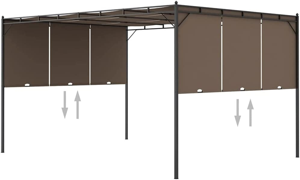 NusGear Garden Indianapolis Cheap bargain Mall Gazebo with Taupe 13.1'x9.8'x7.4' Curtain Side