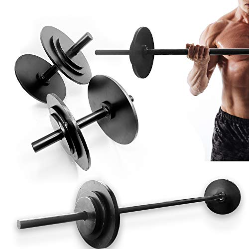 1892, AC   Set Manubri Bilanciere E Dischi Tot. 27kg, Linea: Push Your Limits, Coppia Manubrio Bilancere in Acciaio, (Matte Black, Disco 4x0,75kg, 4x1,25kg, 4x2,5kg Palestra Componibili Bodybuilding)