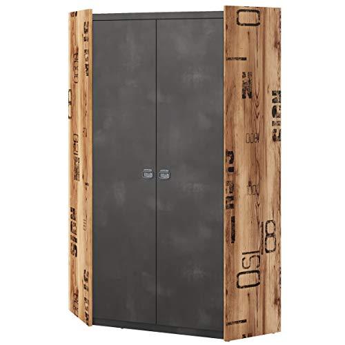 Furniture24 Kleiderschrank Fargo FG17 Eckschrank mit 2 Kleiderstangen Eckkleiderschrank 2 Türiger Schrank für Jugendzimmer