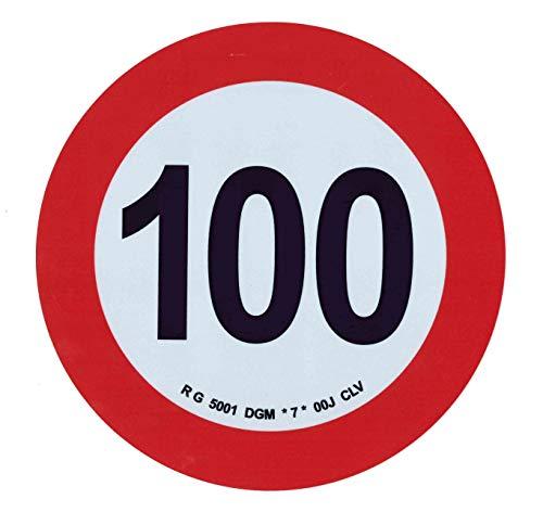 Sticker zelfklevend LIMITE VELOCITA 100 km/h toegestaan voor stoegangers - diameter 20,0 cm