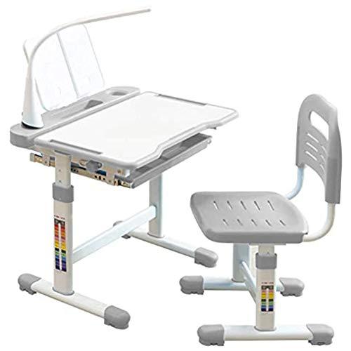 CCK Kinderschreibtisch Höhenverstellbarer Studiertisch und Stuhl - Kippbarer Schreibtisch und multifunktionale Arbeitsstation mit Schublade (Color:grau)