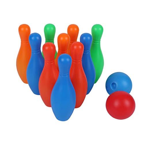 Tomaibaby Juego de Bolos para Niños Juego de Bolos de Plástico Juego de Bolos con 2 Bolas para Niños Juguete Educativo Temprano para Niños Pequeños