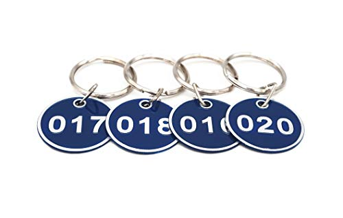 Aluminum Alloy Metal Key Tag Set, Number ID Tags Key Chain, Numbered Key Rings, 50 Pieces - Blue -1 to 50