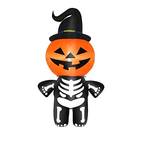 HIGHKAS Decoración Inflable Halloween al Aire Libre, Decoraciones LED Inflable para Interior, jardín, jardín, Calabaza, Fantasma, Calavera, 4 pies, Inflable, Cabeza Calabaza con Cuerpo Esqueleto
