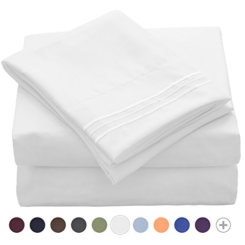 VEEYOO King Bed Sheets Set - Extra Soft 1800 Thread Count Microfiber Pillowcase Sheet Set - Wrinkle, Stain, Fade Resistant Hypoallergenic Deep Pocket Bedding Sets King, Luxury Hotel Bed Sets White