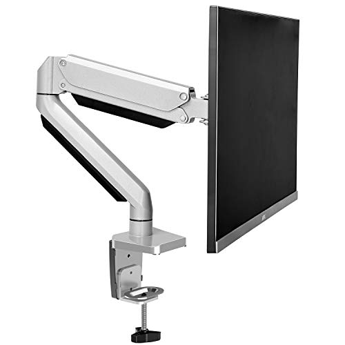 MOUNTUP Single Monitor Desk Mount -Adjustable Die-Cast Aluminum Gas Spring Monitor Arm Desk Stand for 17 to 32 inch LED LCD Screens withC Clamp, Grommet Mounting Base, Holds up to 17.6LBS MU0022