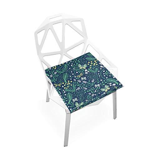 Cojín de espuma viscoelástica para sillas de cocina, suave, lavable, antipolvo, silla de comedor, cojín de 40,6 x 40,6 cm (planta de mariposa) 2030298