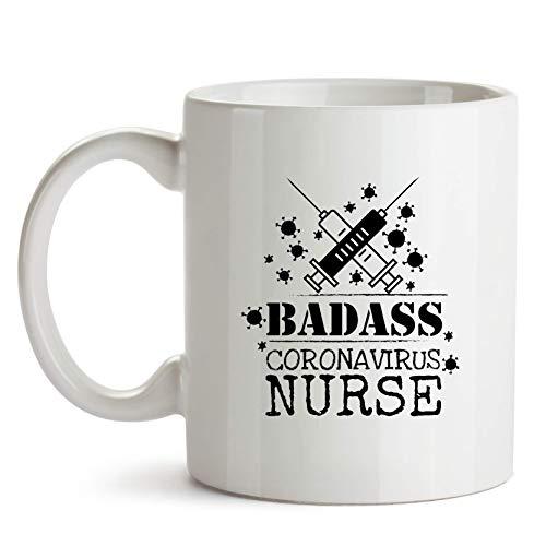 N\A Tazza da caffè per Infermiere Coronavirus Badass, Tazza per apprezzamento COVID Frontliner - Tazza da caffè novità Coronavirus