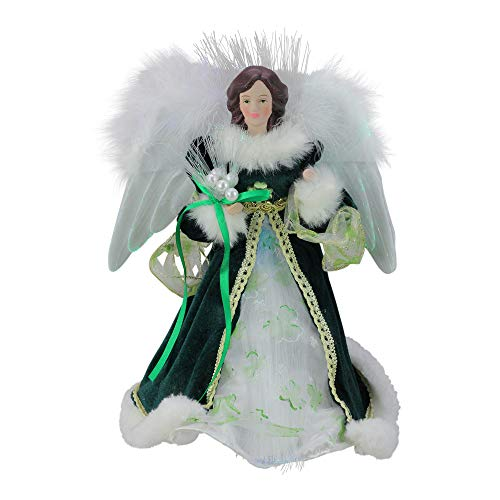 Kurt Adler 12-Inch Fiber Optic Irish Angel Treetop