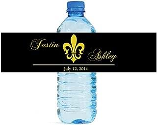 100 Black Fleur de Lis Wedding Anniversary Engagement Party Water Bottle Labels 8