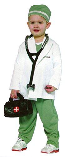 Disfraz de 4 piezas para niños – Medico, Doctor, bata de medico – Blanco, gris – L 140 (7-10 años)