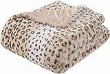 SEDONA HOUSE Faux Fur Cheetah Print Throw Blanket - Super Soft Fuzzy Faux Fur Cozy Warm Fluffy Beautiful Plush Microfiber Throw Blanket, Sand Leopard