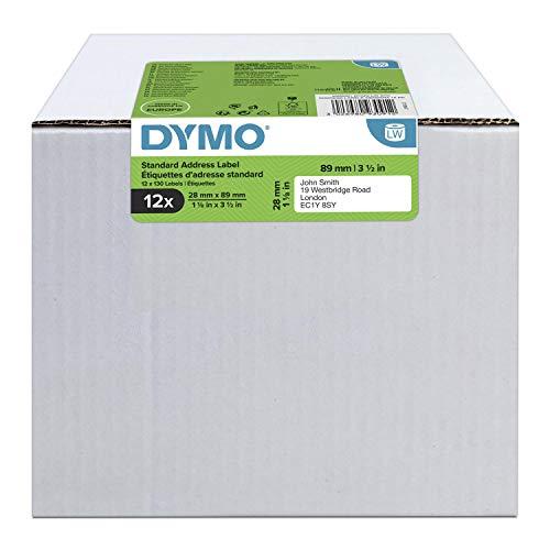 DYMO LW-Adressetiketten | 28mm x 89mm | 12Rollen mit je 130leicht ablösbaren Etiketten (1.560Etikettenband) | selbstklebend | für LabelWriter-Beschriftungsgerät | authentisches Produkt