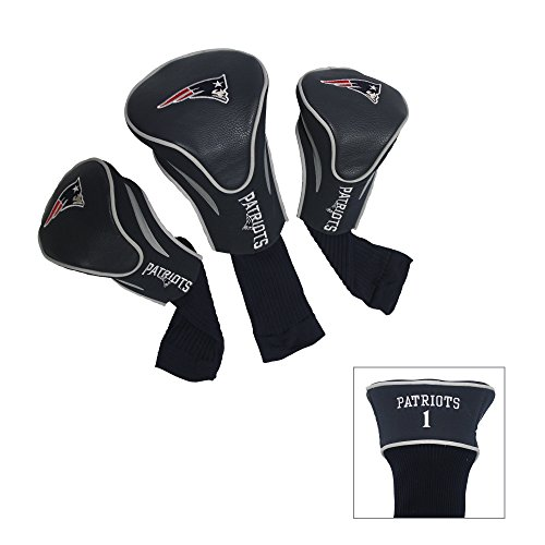 Team Golf NFL New England Patriots Contour Golf Club Headcovers (3 Count), Numbered 1, 3, & X, Fits Oversized Drivers, Utility, Rescue & Fairway Clubs, Velour lined for Extra Club Protection, Multi Team Colors, One Size