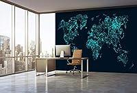 YCRY-壁紙3Dブラックグリーンの世界地図の壁 -壁の装飾-ポスター画像写真-HD印刷-現代の装飾-壁画-280x200cm