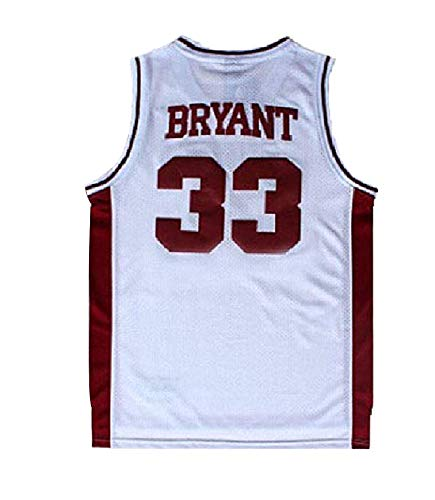 Fahgste Men's Kobe Jersey 33 Legend Jerseys Retro Basketball Bryant Jersey White(S-XXL) (L)
