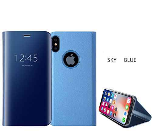 pour iPhone X / iPhone 10 Housse de protection, CrazyLemon Clear View Miroir Lumineux Debout Flip Cover avec Kickstand Galvanoplastie PC + PU Housse de protection en cuir pour iPhone X / iPhone 10 5,8 pouces - Bleu