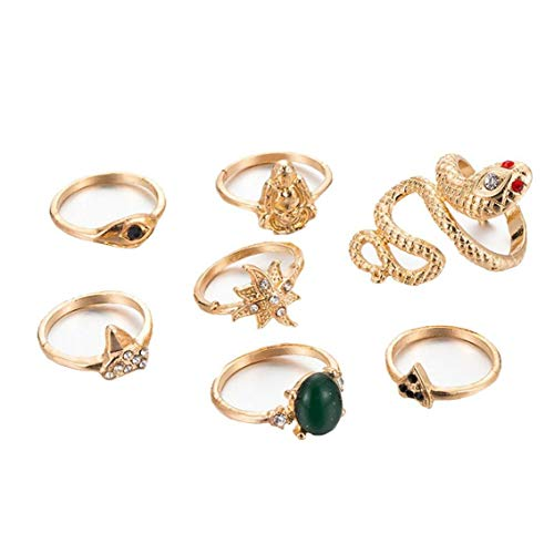 Zonfer 7pcs/Set Snake Buddha Flower Punk Ring Women Crystal Stone Gold Ring Set Adjustable Chic Joint Ring Jewelry Accessories