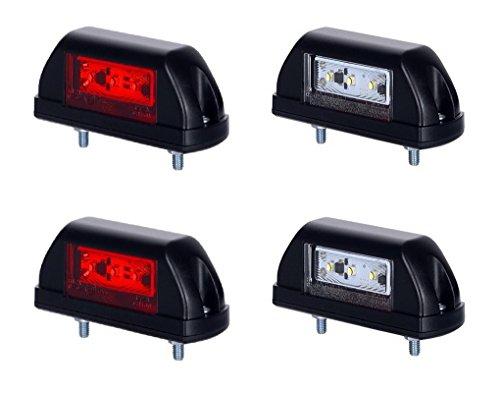 4 X 6 LED Side Marker lumière 12 V 24 V Marquage E de voiture camion remorque caravane Camper Van position lampe Queue avant double fonction Rouge universel Blanc