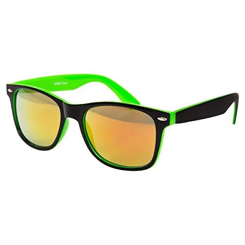 Ciffre Sonnenbrille Nerdbrille Nerd Retro Look Brille Pilotenbrille Vintage Look - ca. 80 verschiedene Modelle Neon Grün Schwarz Farbverlauf Feuer