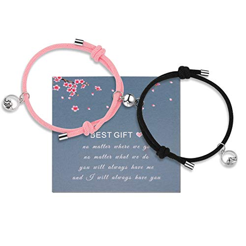 2 PCS Mutual Attraction Magnetic Couple Bracelet Vows of Eternal Love Braided Rope Couple Bracelets Jewelry Gifts for Women Men Lover(Pink+Black)