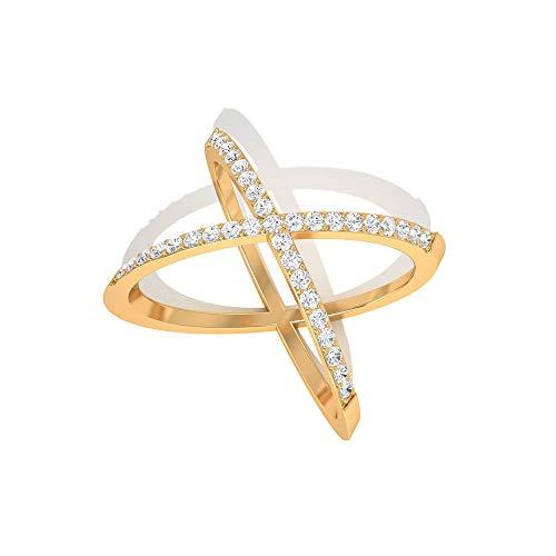 IGI zertifizierter Diamant Crossover-Ring, zierlicher Criss Cross X Ring, IJ-SI Farbe Klarheit Diamant Ewigkeitsring, Jahrestag Valentinstag Geschenk, 14K Gelbes Gold, Size:EU 49