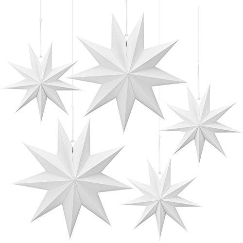 Linkbro 5 Stück Papierstern, Papiersterne Weihnachten, 9 Zacken, 30cm x 3 + 45cm x 2, für Weihnachts Dekoration, Fenster Dekoration, DIY Dekoration