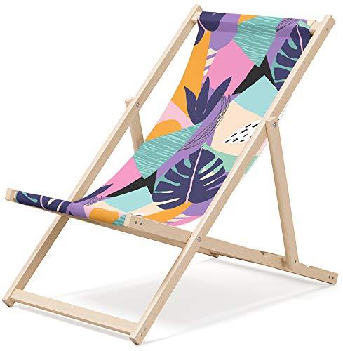 Gartenliege aus Holz Klappbar Liegestuhl Relaxliege Strandstuhl Klappliegestuhl (Pastel)