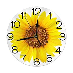 KiuLoam Yellow Sunflower Blossom Round Wall Clock Silent Non Ticking Battery Operated Easy to Read for Student Office School Home Decorative Clock Art