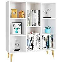 Homfa Estantería Libros Librería Pared Mueble Auxiliar Madera Armario Almacenaje para Salón Oficina Dormitorio con 8 Cubos Blanca 80X29.5X93cm