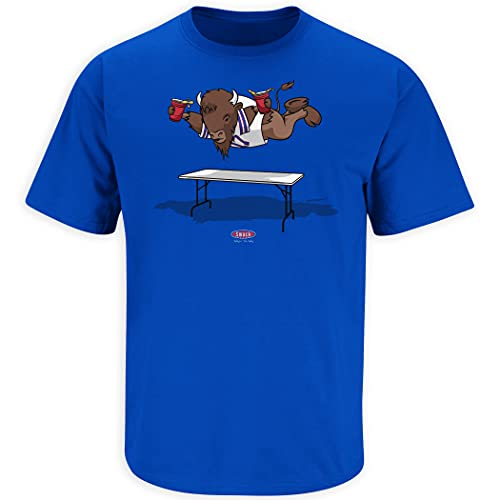 Buffalo Football Fans. Smash Tables Royal T-Shirt (Sm-5X) (Short Sleeve, Large)
