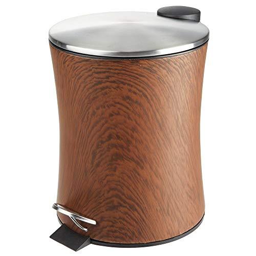 mDesign Tretmülleimer – 5 l Mülleimer aus Metall mit Pedal, Deckel und Kunststoffeinsatz – perfekt als Kosmetikeimer oder Papierkorb für Bad, Küche, Büro etc. – dunkelbraun